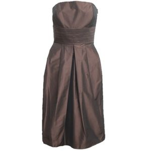 Ann Taylor Brown Satin Short Evening Formal Dress